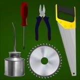 螺丝刀,钳子,锯,切开圆盘,油工 免版税库存照片