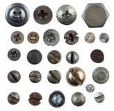 螺丝,钉子,在白色查出的螺栓头 免版税库存照片