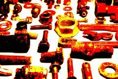 螺拴螺母和机械零件的抽象构成 免版税图库摄影