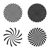 螺旋光芒样式集合 传染媒介漩涡设计元素 库存图片