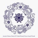 螺旋圆的花金瓜花圈的古老中国样式 图库摄影