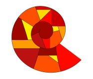 螺旋抽象商标橙红黄色 免版税库存照片