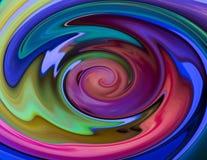 螺旋水纹理绯红色黄色蓝色梯度明亮的迷惑的背景 免版税库存图片