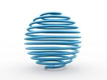 从螺旋的抽象蓝色球形 免版税库存图片
