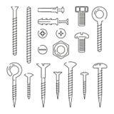 螺栓、坚果、钉子和螺丝的Monoline图片 被设置的传染媒介例证 皇族释放例证