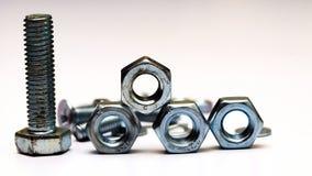 螺栓、螺丝和坚果在白色背景 免版税库存照片