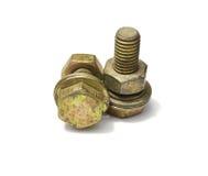 螺栓和坚果在白色背景 免版税图库摄影