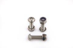 螺栓和螺母 加工在产业工作,产业背景的设备 图库摄影