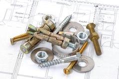 螺栓在项目的房子螺母 免版税库存照片
