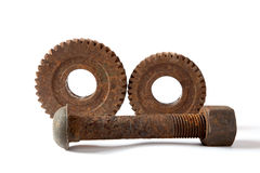 螺栓适应生锈的螺母 库存图片