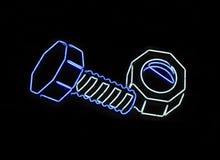 螺栓霓虹螺母形状的符号 免版税库存照片