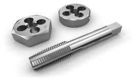 螺纹切割工具(轻拍和死) 库存例证