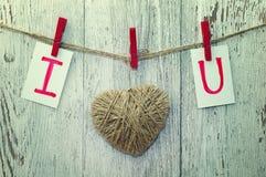 从螺纹和卡片文本的心脏我爱你在绳索的木布料钉举行  库存图片
