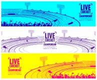 蟋蟀体育场与沥青的champoinship比赛的和支持者扇动人欢呼的队 皇族释放例证