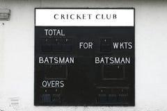 蟋蟀俱乐部比分板空白板球运动员和小门 图库摄影