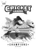 蟋蟀冠军模板或飞行物设计与蟋蟀板球运动员的乱画例证 皇族释放例证