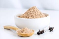 蟋蟀吃的粉末昆虫当食品项目由在碗的煮熟的昆虫肉和木匙子制成在白色背景是好 免版税库存图片