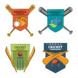 蟋蟀和棒球象征 库存例证