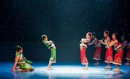 蟋蟀战斗的这雪村庄女孩中国民间舞 库存图片
