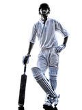 蟋蟀球员板球运动员剪影 免版税库存照片