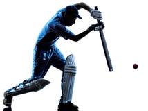蟋蟀球员板球运动员剪影 免版税库存图片