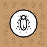 蟑螂象标志和标志在棕色背景 免版税库存图片