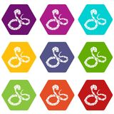 蟒蛇蛇象设置了9传染媒介 库存例证