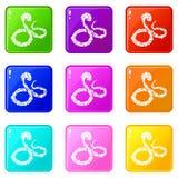 蟒蛇蛇象设置了9种颜色汇集 库存例证