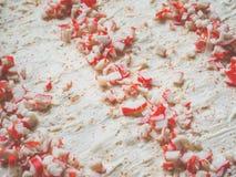 蟹肉、乳酪和草本卷的准备在lavash 库存图片