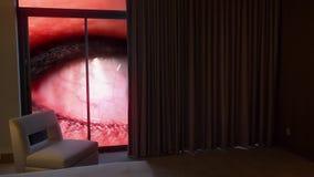 蠕动的眼珠概念调查一栋高级公寓 影视素材