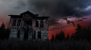 蠕动的老房子 免版税库存图片