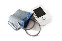 血压测量仪以表明hy的一台空白的数字式显示器 免版税库存图片