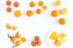 血橙、桔子和柑桔的构成 免版税库存图片