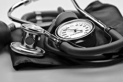 血液仪器医疗压听诊器 免版税库存照片