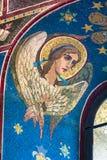 血液教会救主溢出 天使图象在窗口里 免版税库存图片