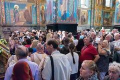 血液教会救主溢出 游人人群在fr 免版税库存图片