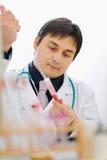 血液男性研究员范例工作 免版税库存照片