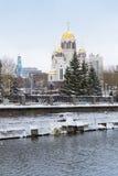血液的大教堂在冬天,叶卡捷琳堡 库存照片