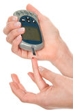 血液糖尿病葡萄糖级别评定测试 免版税图库摄影