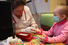 血液部门被测试的肿瘤学小儿科 库存照片