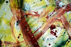 血淋淋的红色金银色黑暗的催眠油漆结构,油漆结构,绘抽象创造性的背景 免版税库存照片