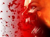 血淋淋的嘴吸血鬼 库存图片