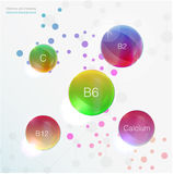 血清和维生素蓝色背景概念护肤化妆用品 钙, b1, b2, b6, b12, A, C, D 库存图片