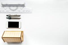 行业概念的建筑师事务所在书桌背景顶视图嘲笑 库存照片