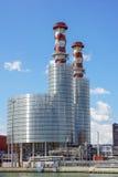 行业横向 有烟囱的热电厂 免版税库存图片