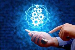 4行业 0,事概念工业互联网与人usi的 图库摄影