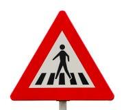 行人交叉路的交通标志 免版税库存照片