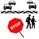 行人穿越道安全性 免版税库存照片