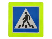 行人穿越道的交通标志 免版税库存图片
