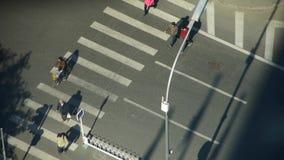 行人穿越道&交通在都市城市,斑马线鸟瞰图  股票录像